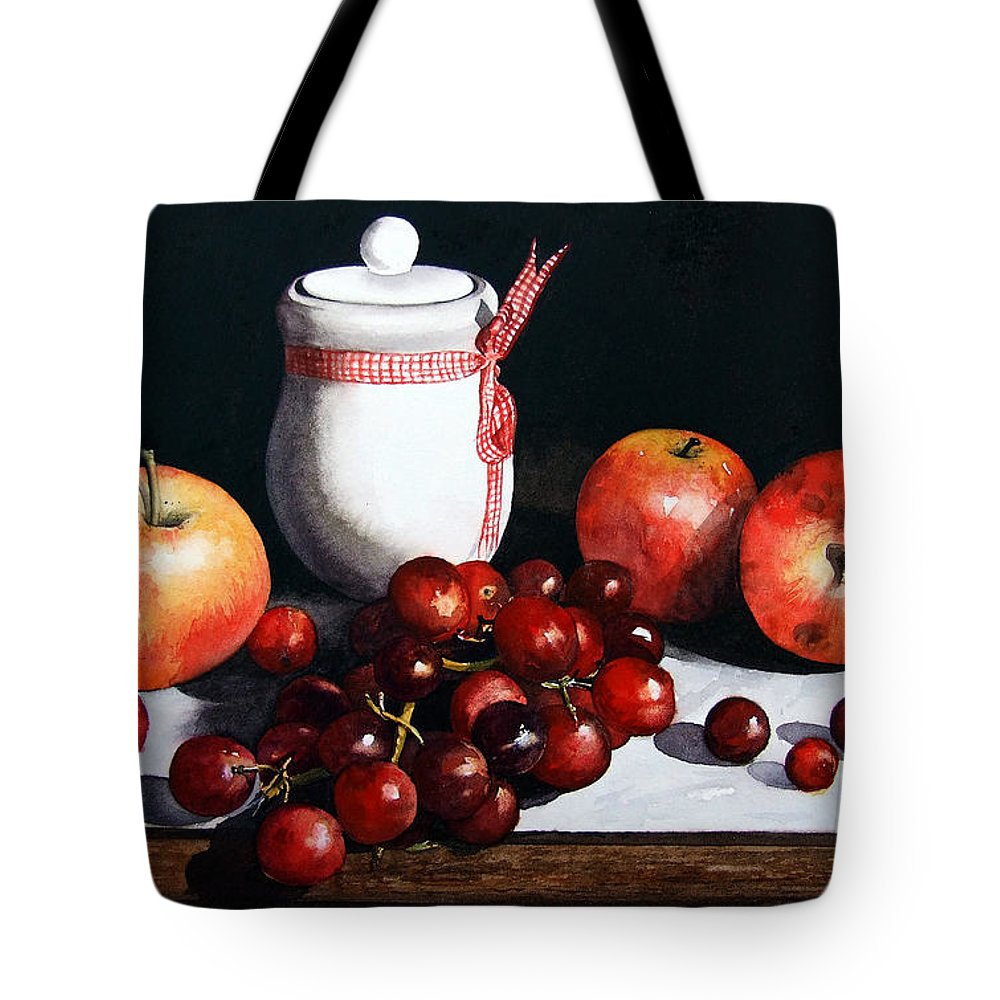 Still Life Tote Bag featuring the painting Still Life 'preserve Pot And Fruit' by Paul Dene Marlor