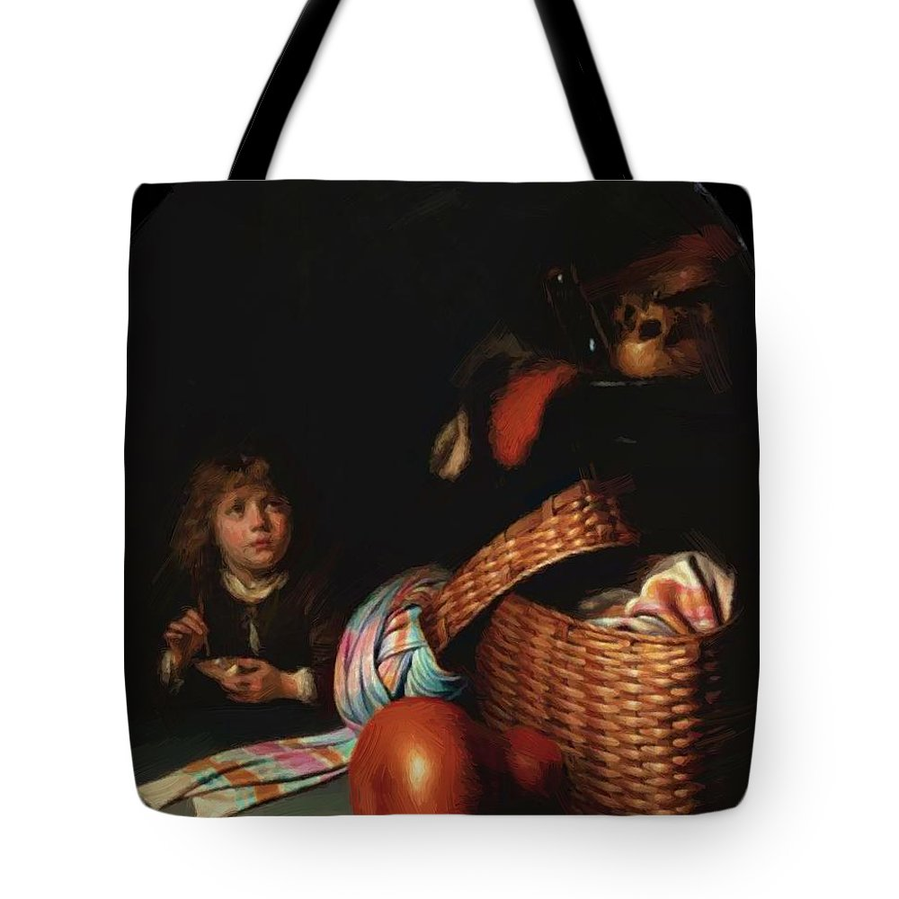 Still Tote Bag featuring the painting Still Life With A Boy Blowing Soap Bubbles 1636 by Dou Gerrit