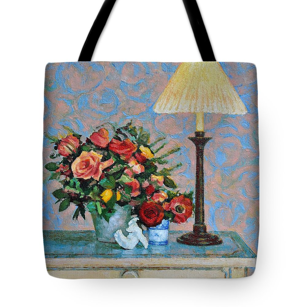 Flowers Tote Bag featuring the painting Still Life With A Lamp by Iliyan Bozhanov