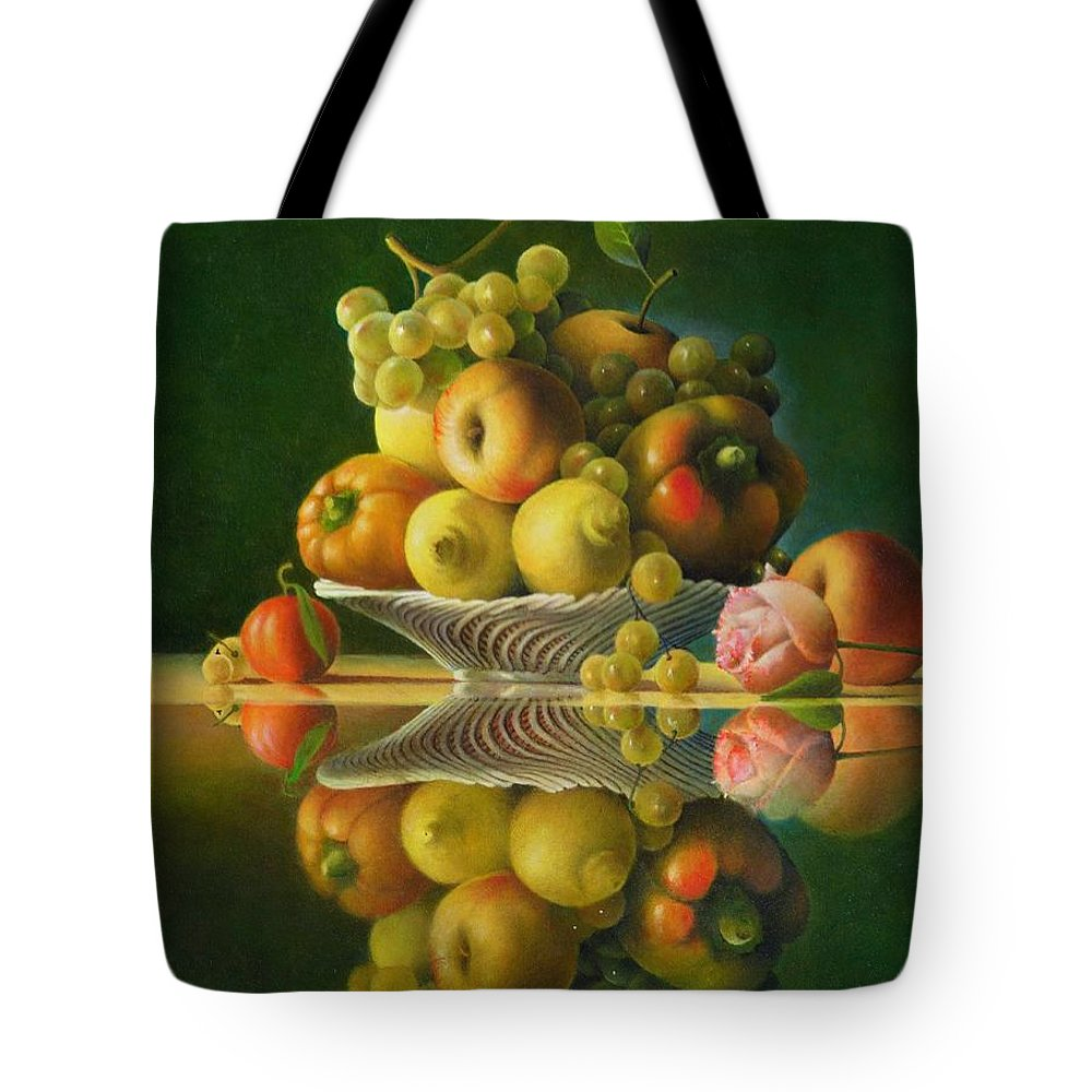 Still Life Tote Bag featuring the painting Still Life with a Rose by Giuseppe Mariotti