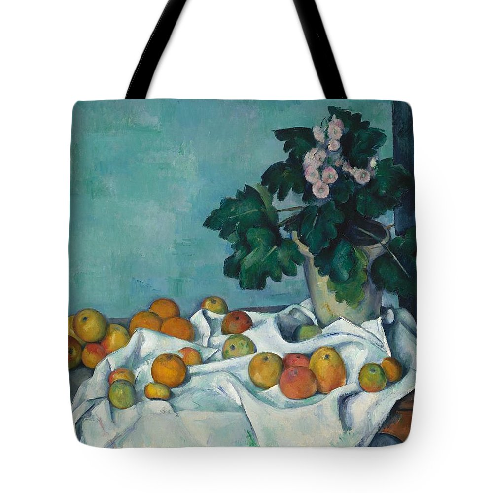 Paul Czanne Still Life With Apples And A Pot Of Primroses Tote Bag featuring the painting Still Life With Apples And A Pot Of Primroses by Paul Czanne