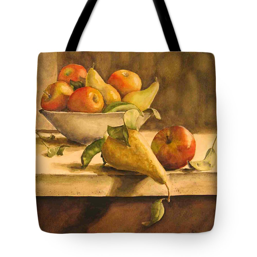 Still-life Tote Bag featuring the painting Still-life With Apples And Pears by Piety Choi