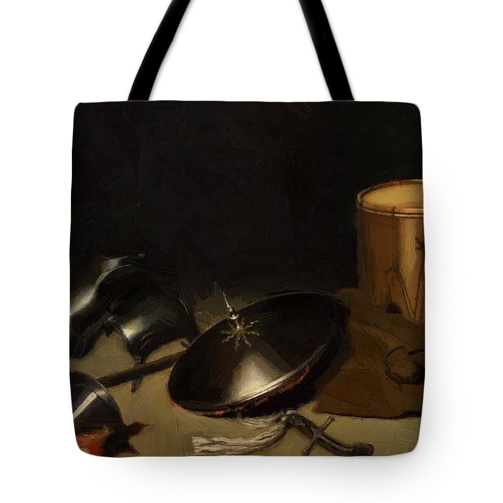 Still Tote Bag featuring the painting Still Life With Armor Shield Halberd Sword Leather Jacket And Drum by Dou Gerrit