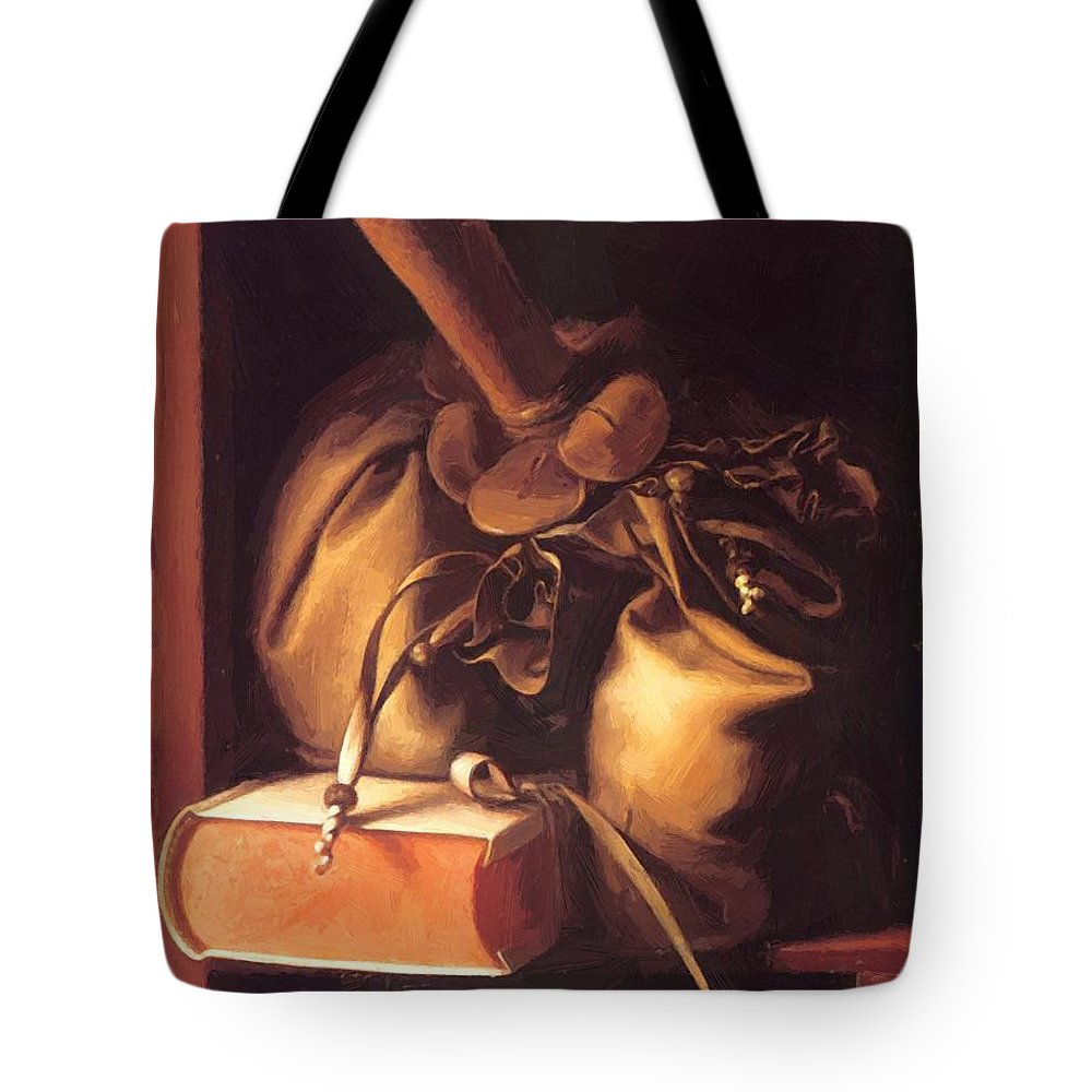 Still Tote Bag featuring the painting Still Life With Book And Purse by Dou Gerrit