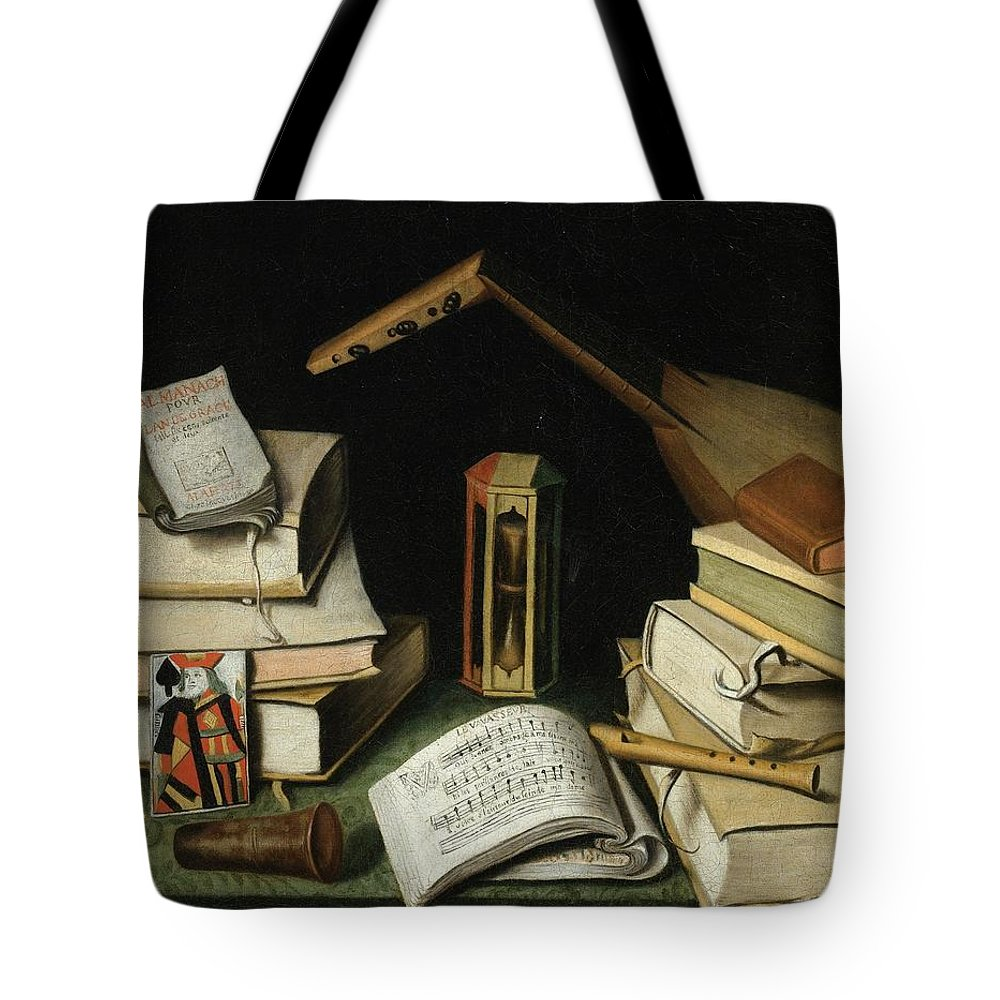 523dc28969ce French School Circa 1662   Still Life With Books Tote Bag featuring the  painting Still Life