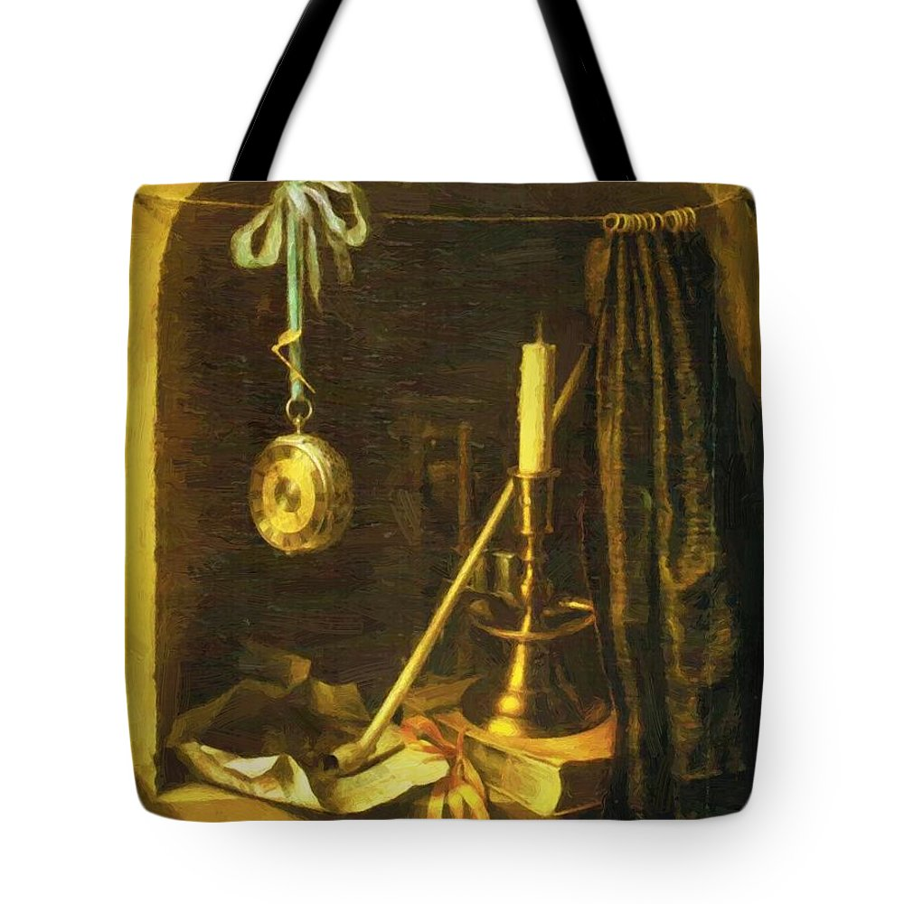 Still Tote Bag featuring the painting Still Life With Candle by Dou Gerrit