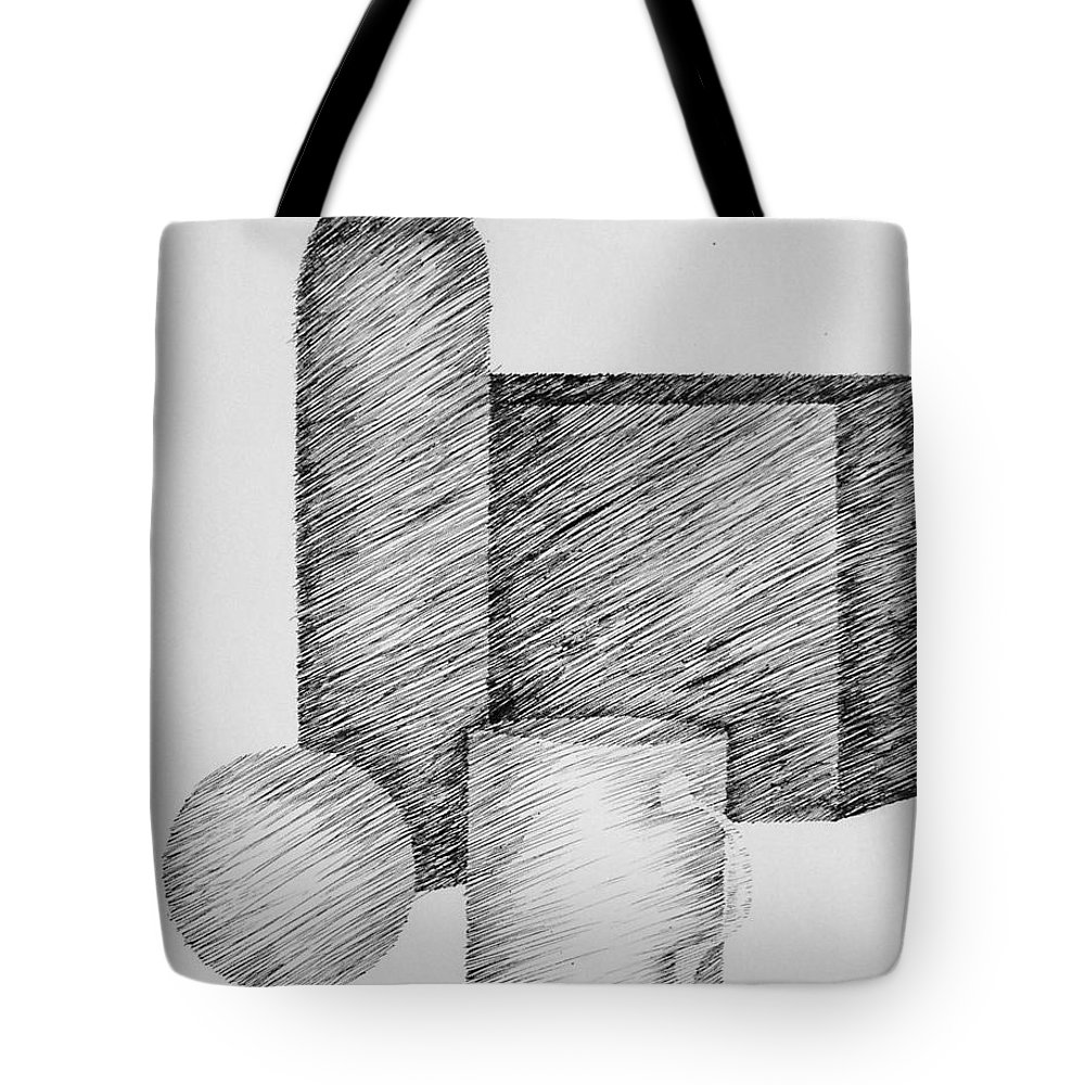 Still Life Tote Bag featuring the drawing Still Life With Cup Bottle And Shapes by Michelle Calkins