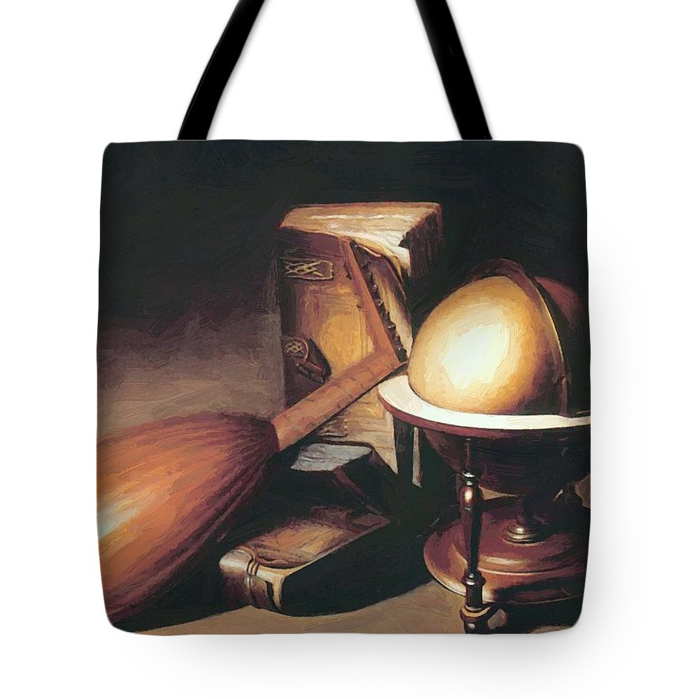 Still Tote Bag featuring the painting Still Life With Globe Lute And Books by Dou Gerrit