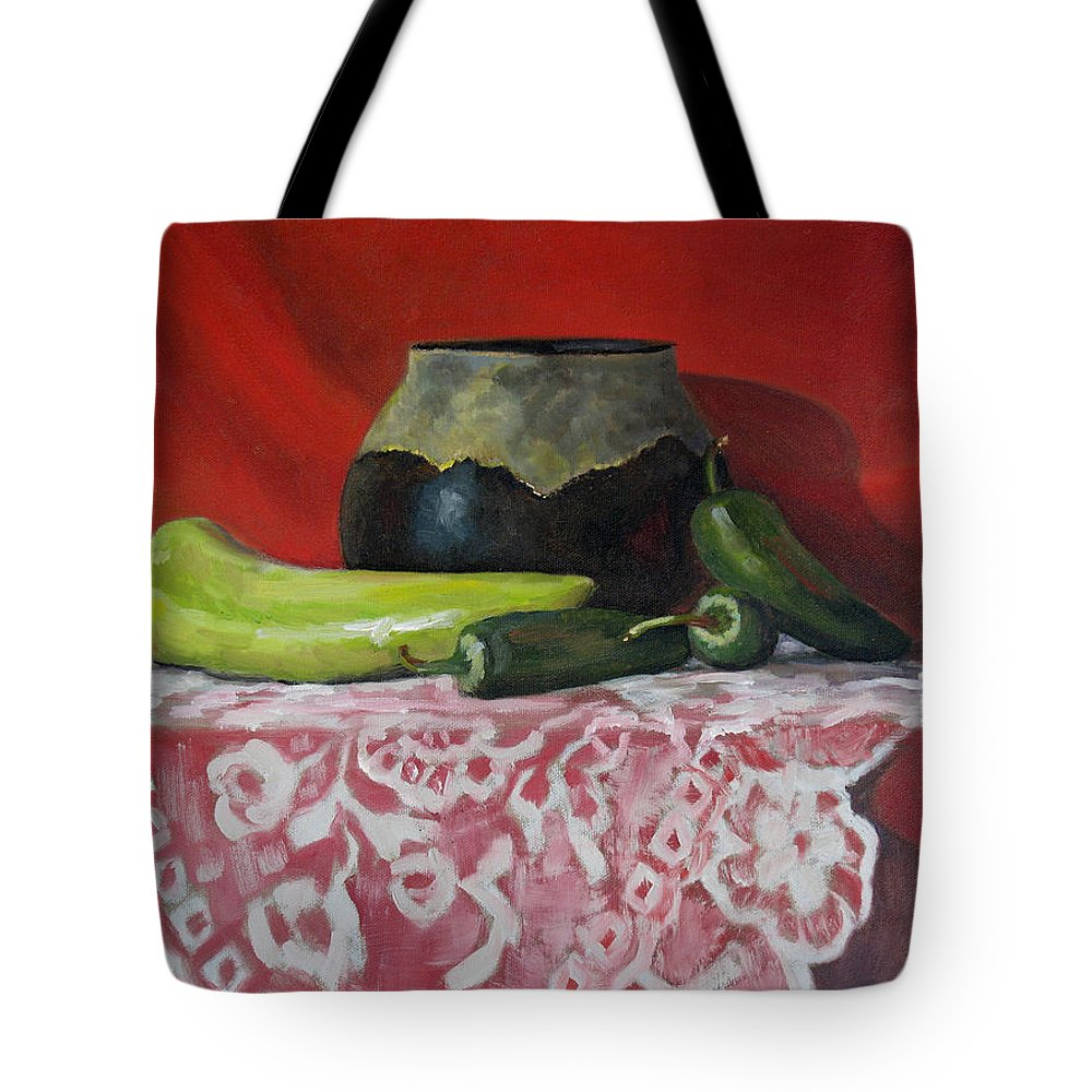 Realism Tote Bag featuring the painting Still Life With Green Peppers by Keith Burgess