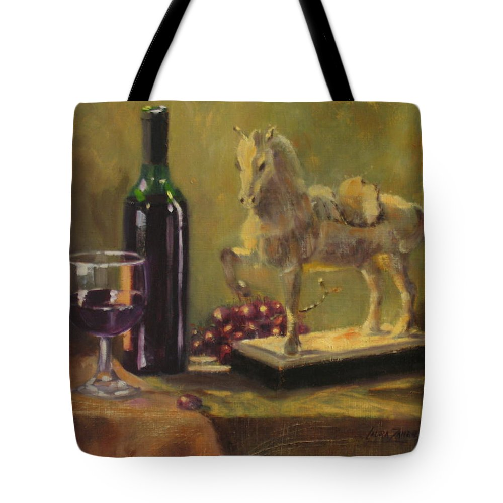 Oil Painting Tote Bag featuring the painting Still Life With Horse by Laura Lee Zanghetti