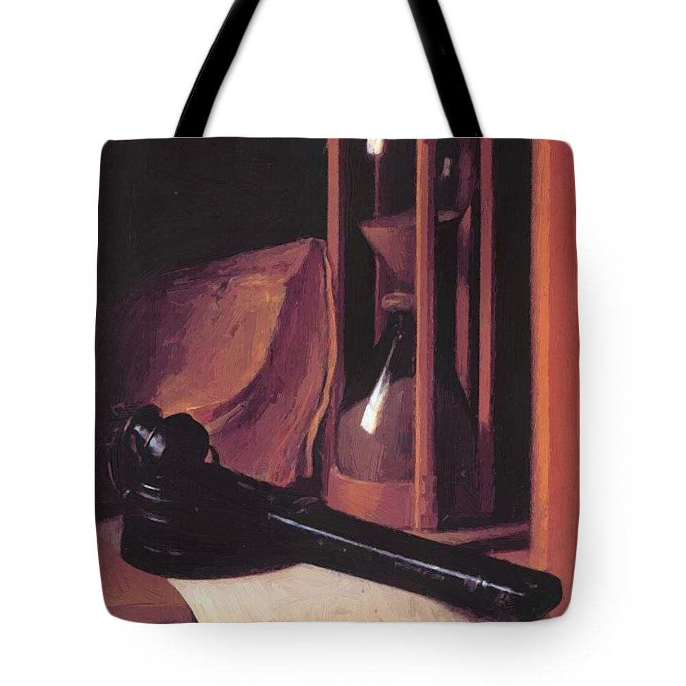 Still Tote Bag featuring the painting Still Life With Hourglass Pencase And Print by Dou Gerrit
