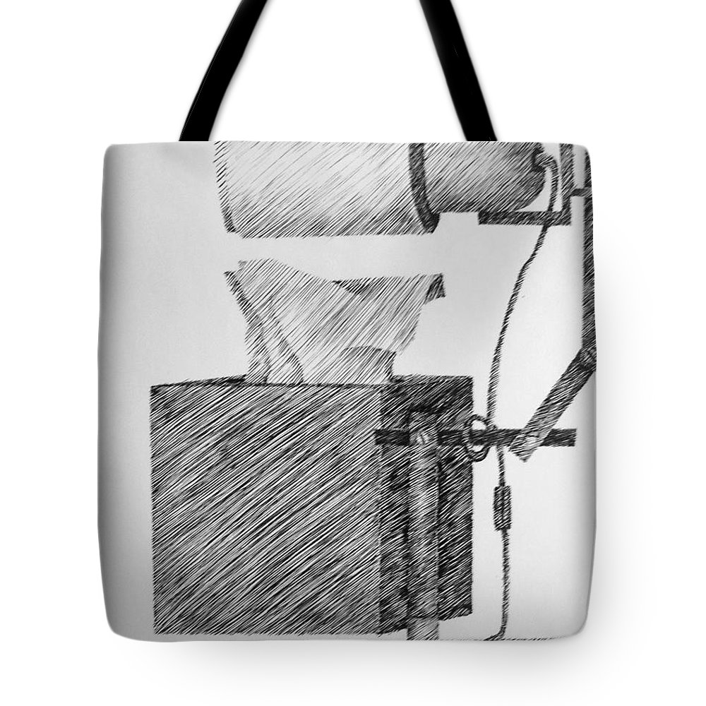 Still Life Tote Bag featuring the drawing Still Life With Lamp And Tissues by Michelle Calkins