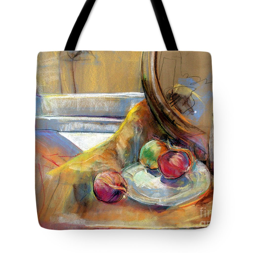 Pastel Painting Tote Bag featuring the painting Still Life With Onions by Daun Soden-Greene