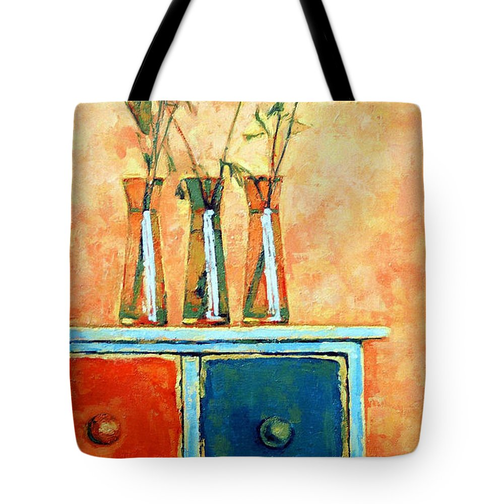 Poppies Tote Bag featuring the painting Still Life With Poppies by Iliyan Bozhanov