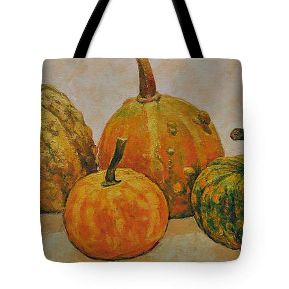Still Life Tote Bag featuring the painting Still Life With Pumpkins by Iliyan Bozhanov