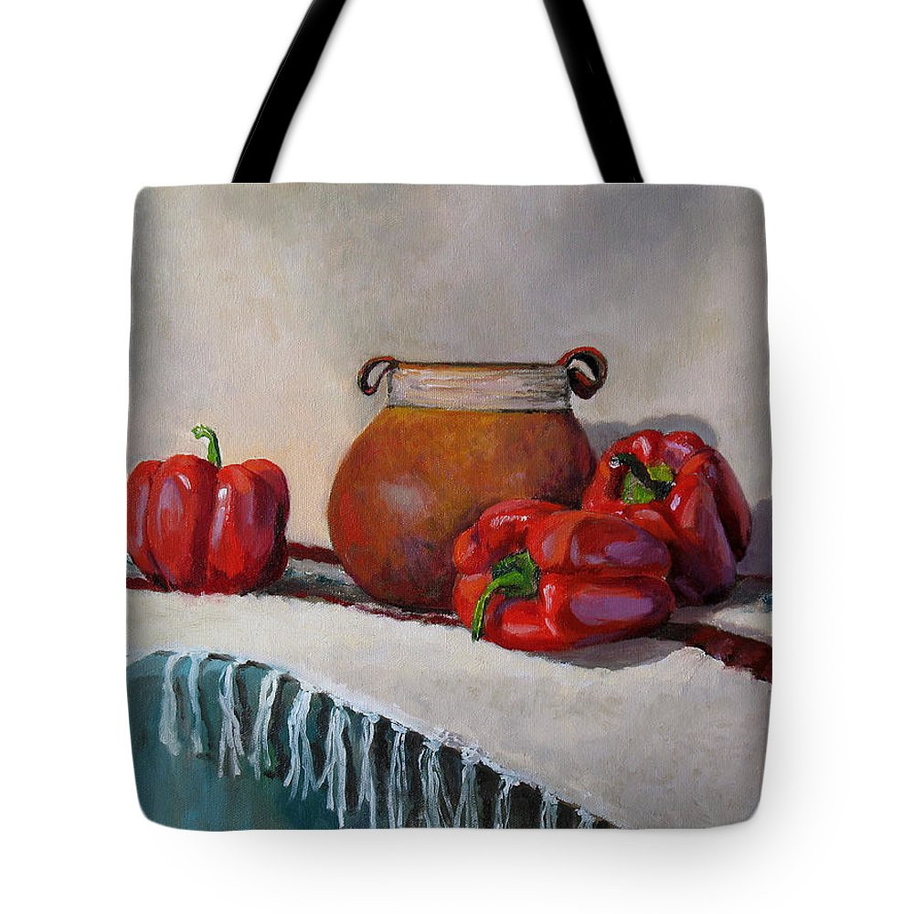 Impressionism Tote Bag featuring the painting Still Life With Red Peppers by Keith Burgess