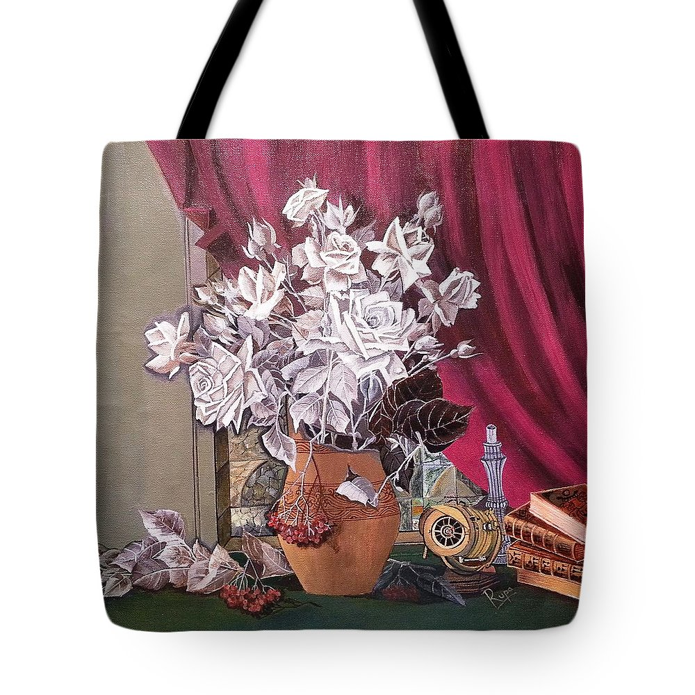 Still Life Tote Bag featuring the painting Still Life With Roses And Books by Rupa Prakash