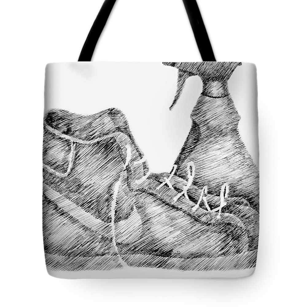 Pen Tote Bag featuring the drawing Still Life With Shoe And Spray Bottle by Michelle Calkins