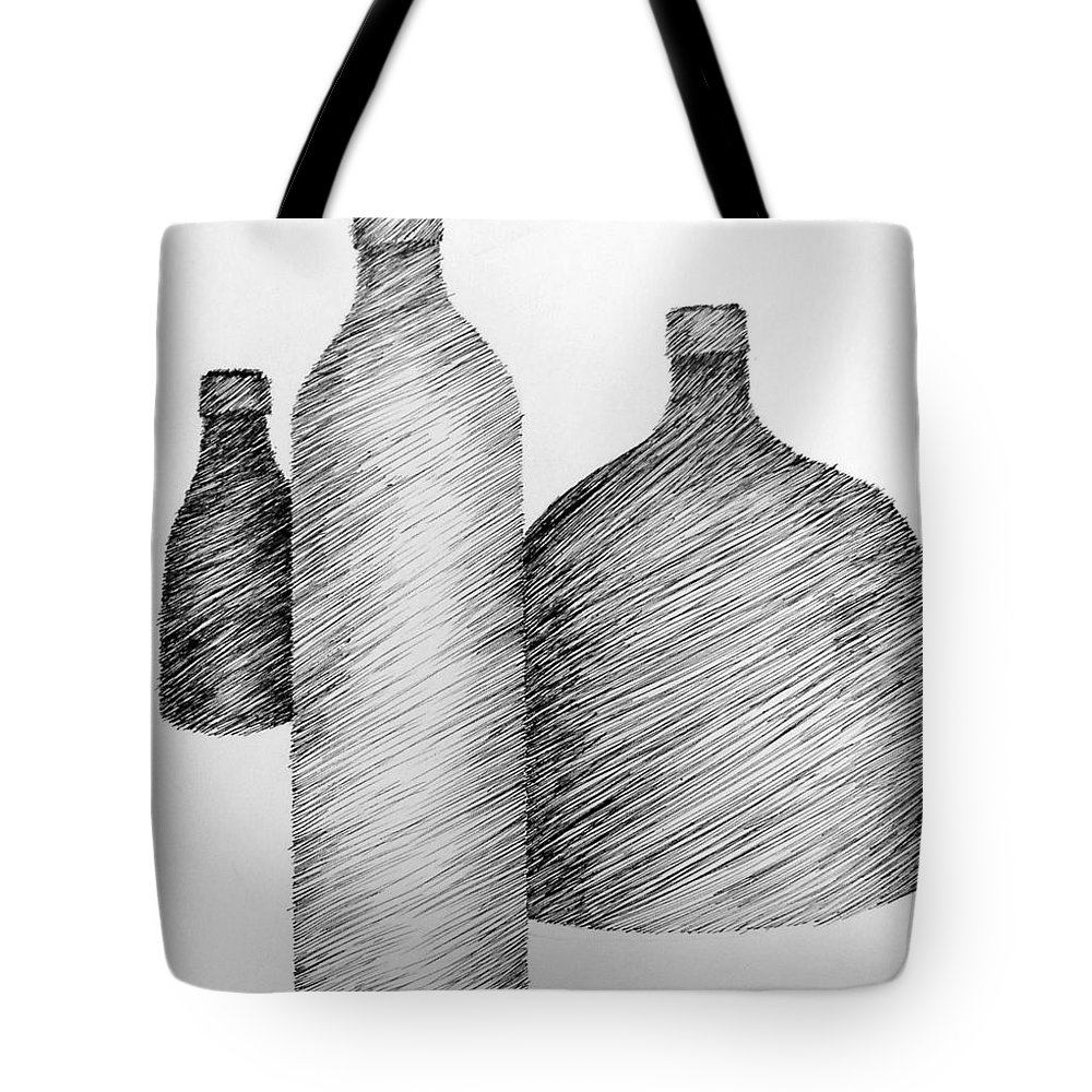 Still Life Tote Bag featuring the drawing Still Life With Three Bottles by Michelle Calkins