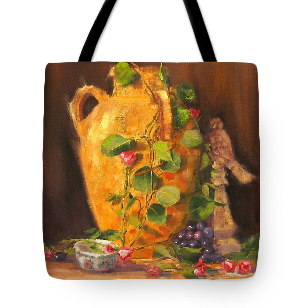 Oil Painting Tote Bag featuring the painting Still Life With Urn by Laura Lee Zanghetti