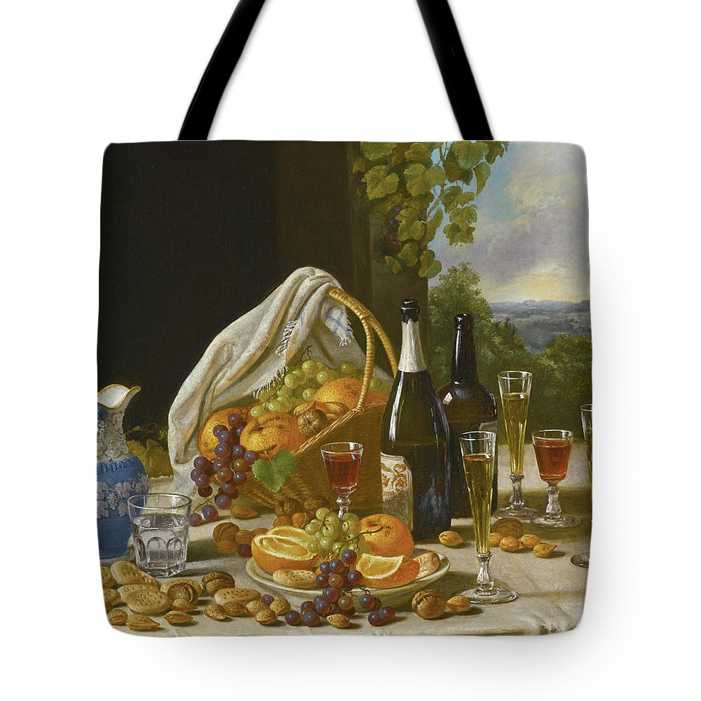 John F Francis Tote Bag featuring the painting Still Life With Wine And Fruit by John F Francis