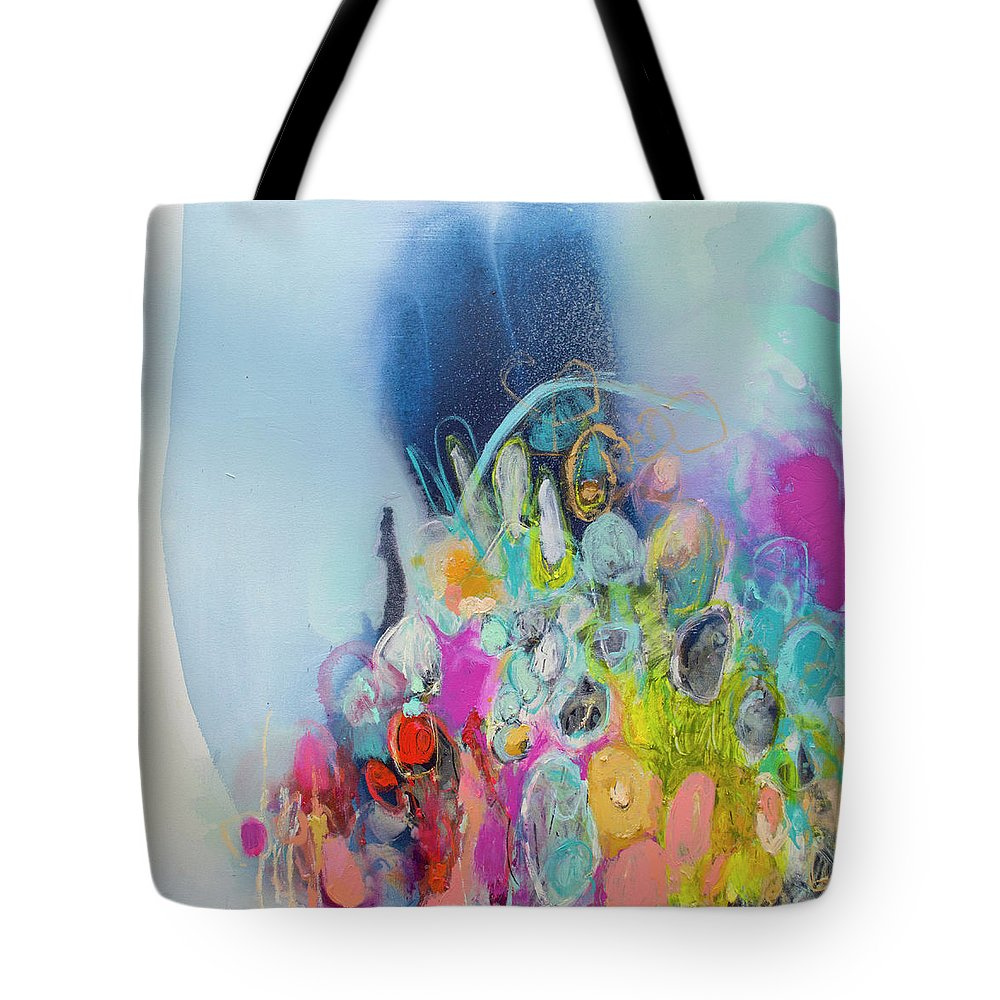 Abstract Tote Bag featuring the painting Still Playing by Claire Desjardins