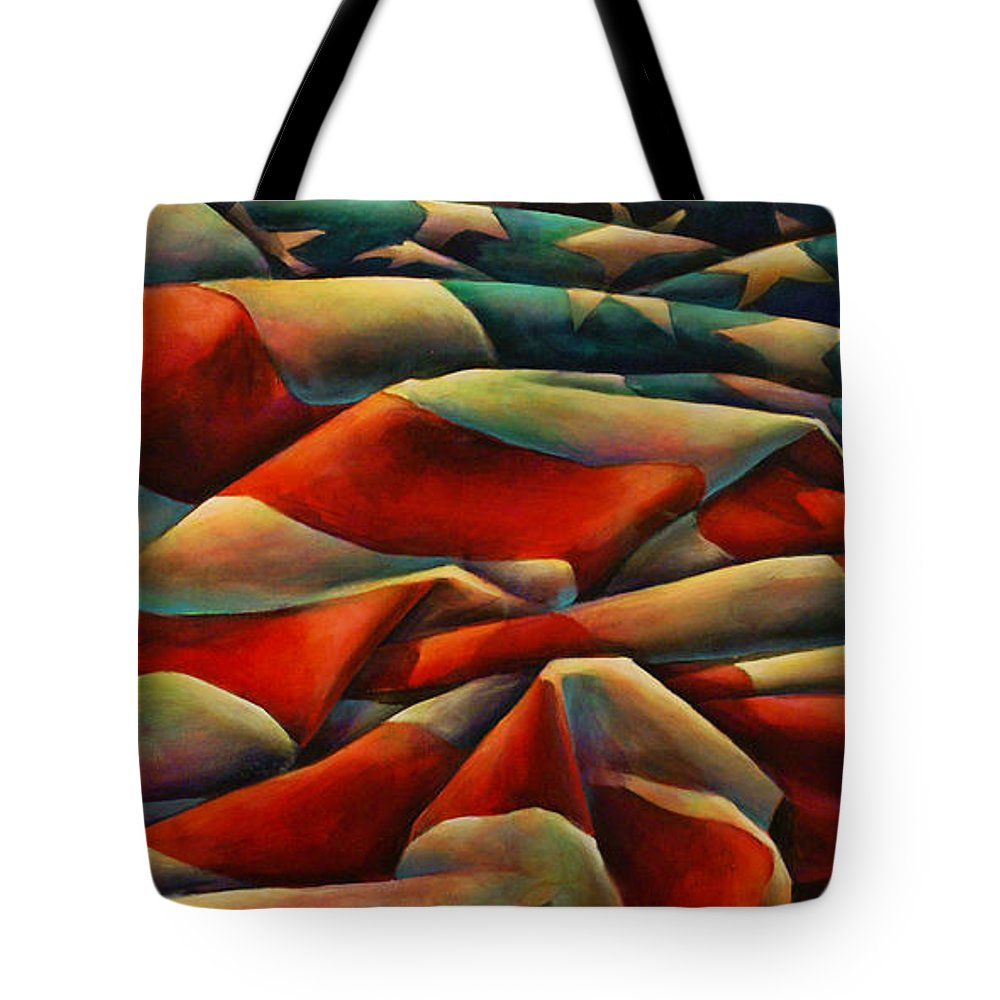 American Flag Tote Bag featuring the painting Still There by Michael Lang