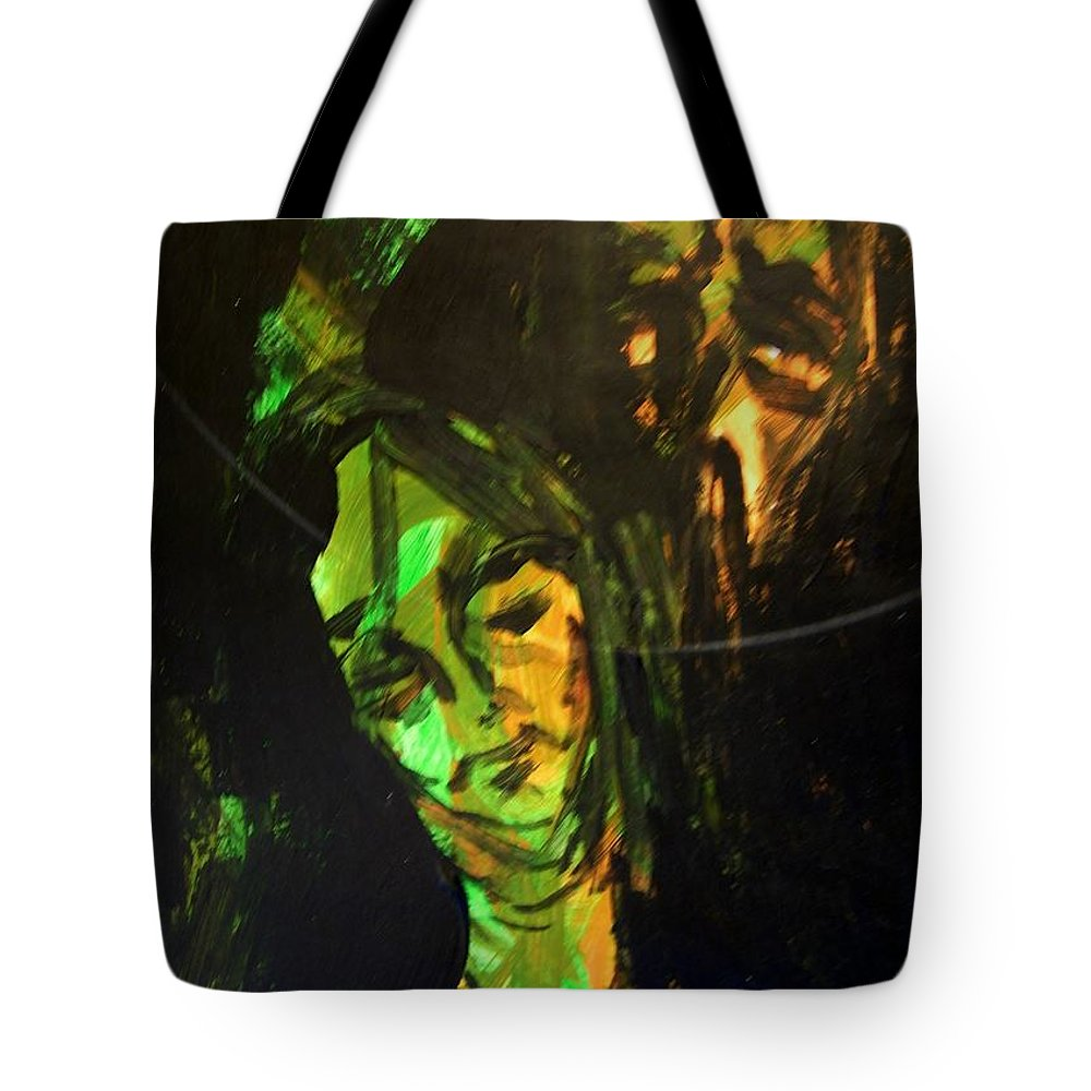 Abstract Tote Bag featuring the painting Still Waitiing For Maxwell by Judith Redman