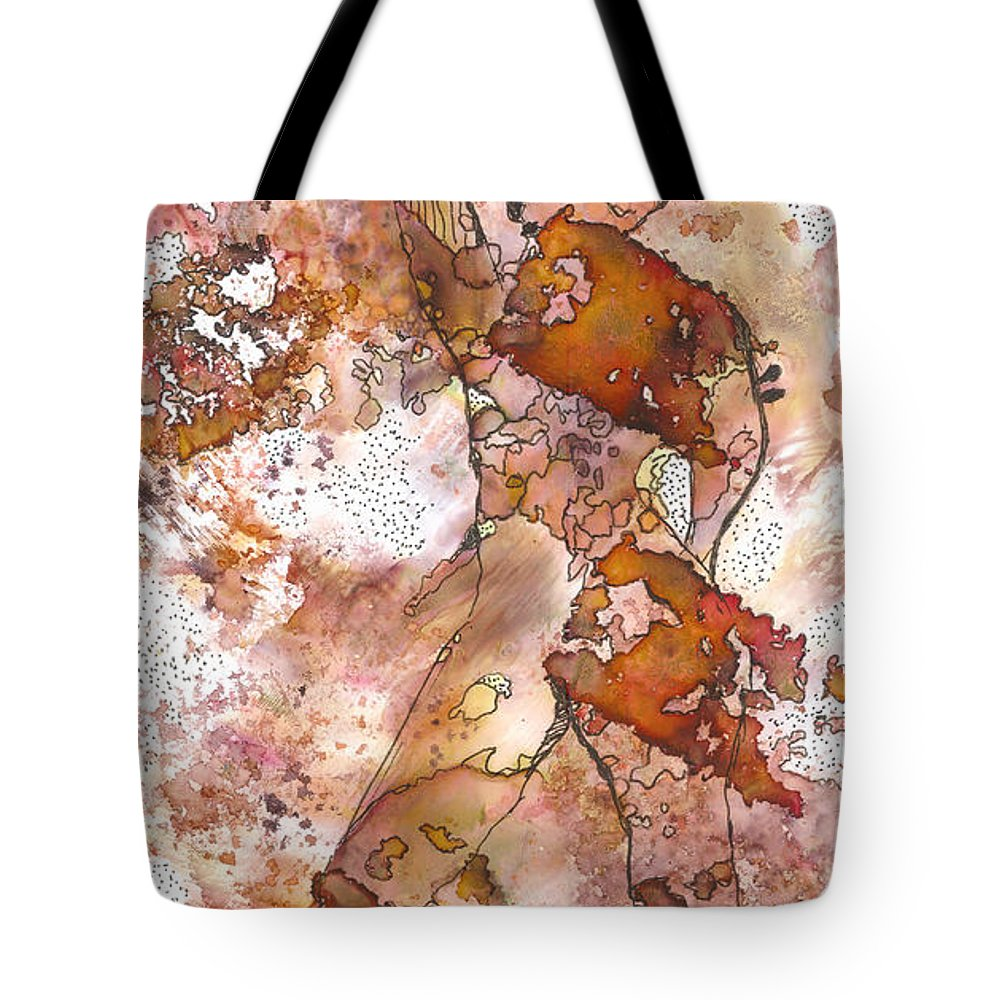 Abstract Tote Bag featuring the painting Still Waiting by Angela L Walker