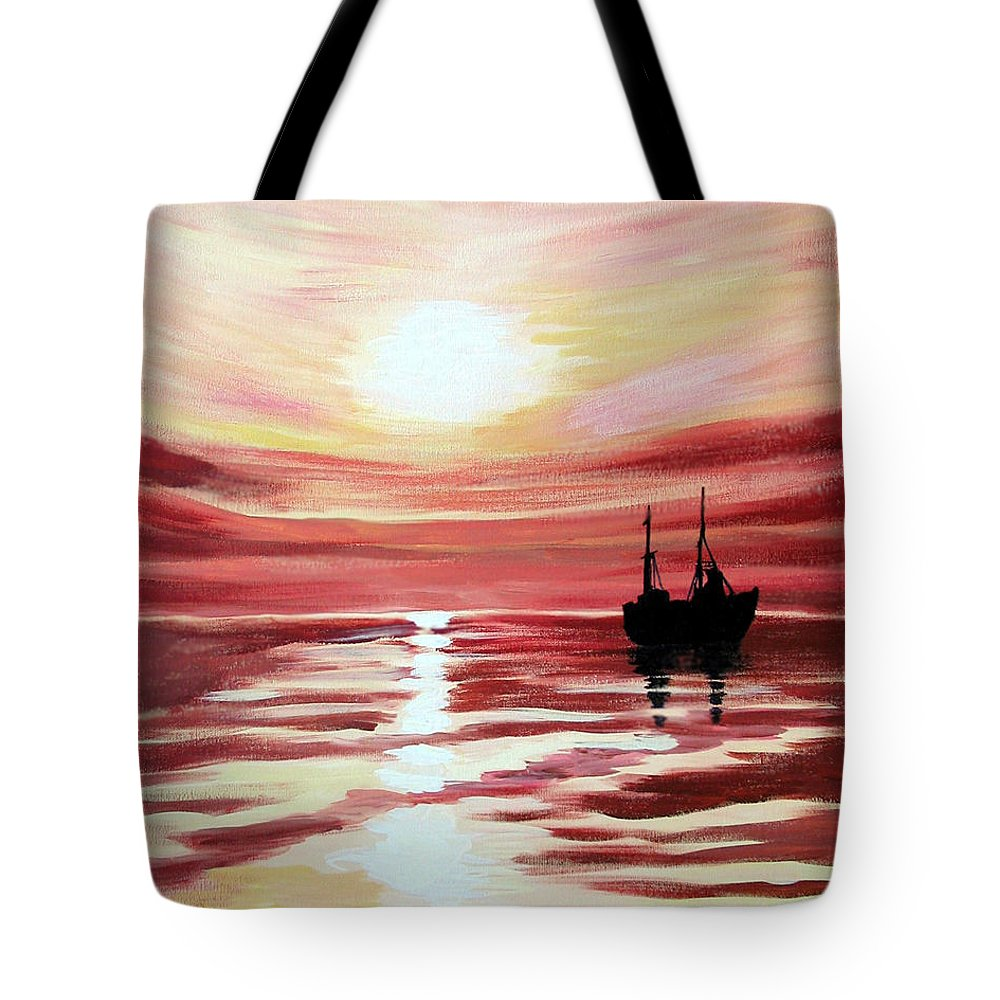 Seascape Tote Bag featuring the painting Still Waters Run Deep by Marco Morales