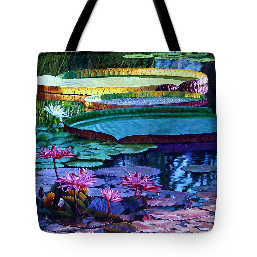 Garden Pond Tote Bag featuring the painting Stillness Of Color And Light by John Lautermilch