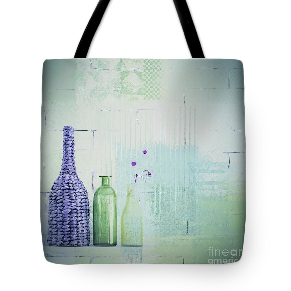 Bottle Green Photographs Tote Bags