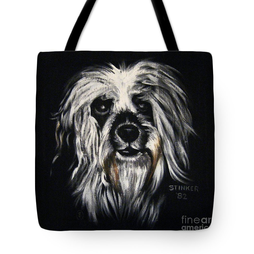 Dog Tote Bag featuring the painting Stinker by Sherry Oliver