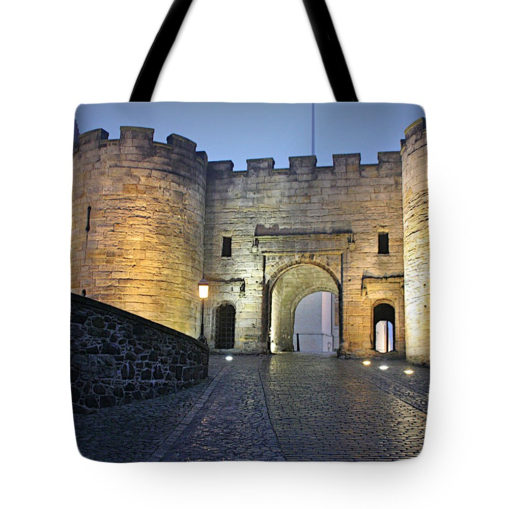 Historic Tote Bag featuring the photograph Stirling Castle Scotland In A Misty Night by Christine Till