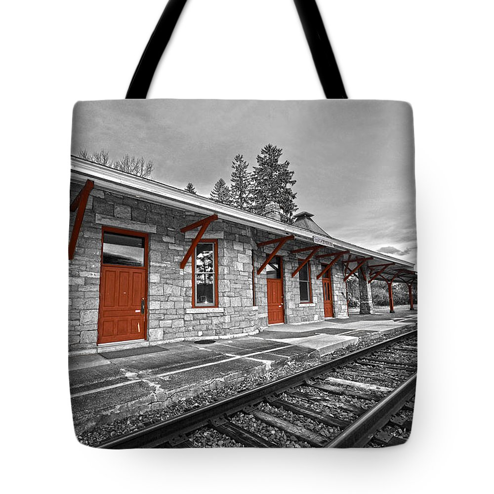 Trains Tote Bag featuring the photograph Stockbridge Train Station by Andrea Swiedler