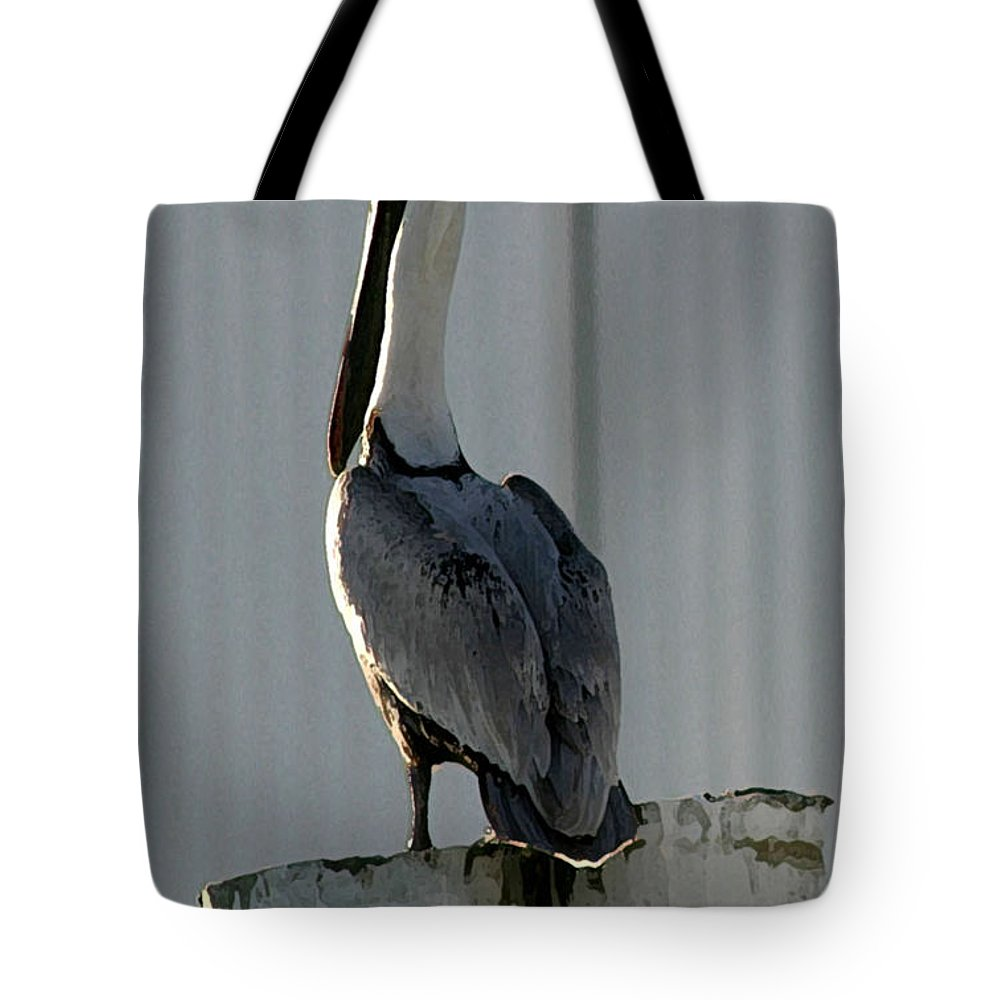 Pelican Tote Bag featuring the photograph Stoic Pelical by Mary Haber
