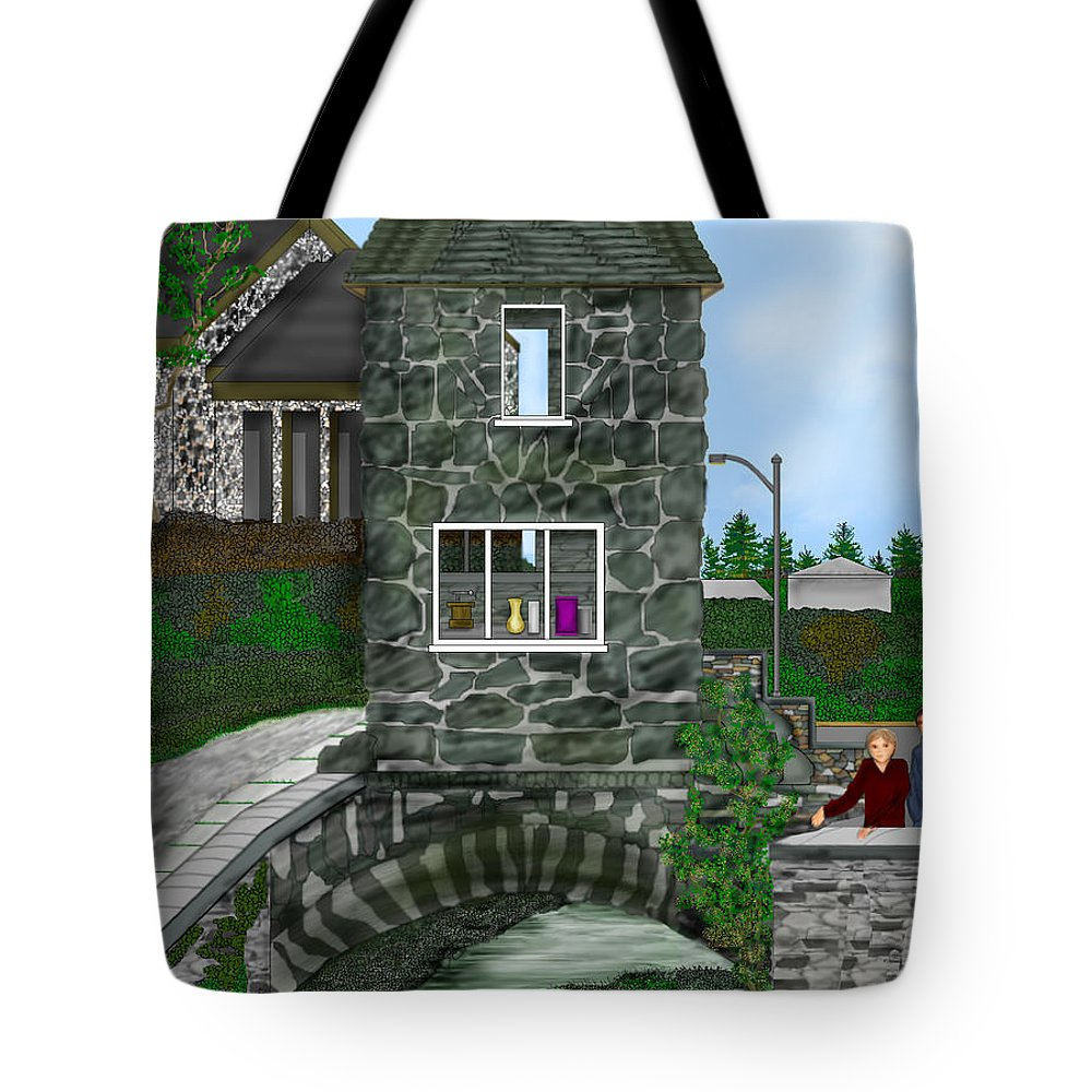 Landscape Tote Bag featuring the painting Stone Bridge House In The Uk by Anne Norskog