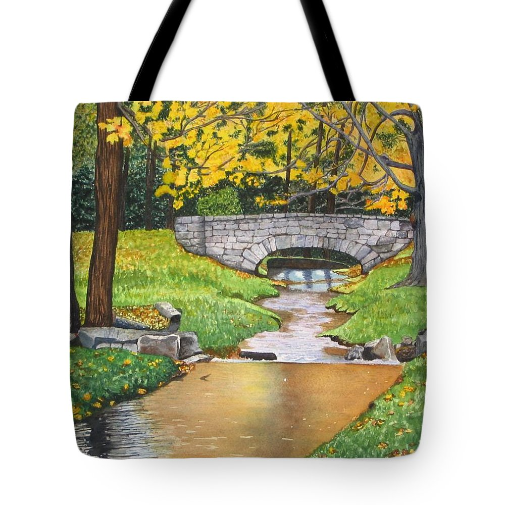 Landscape Tote Bag featuring the painting Stone Bridge by Sharon Farber