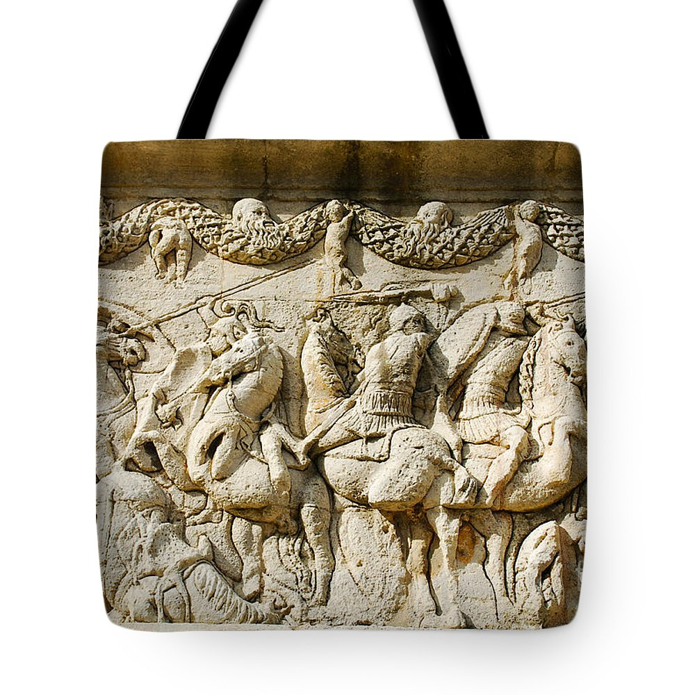 Mausoleum Tote Bag featuring the photograph Stone Carving On Mausoleum Of The Julii by Just Eclectic