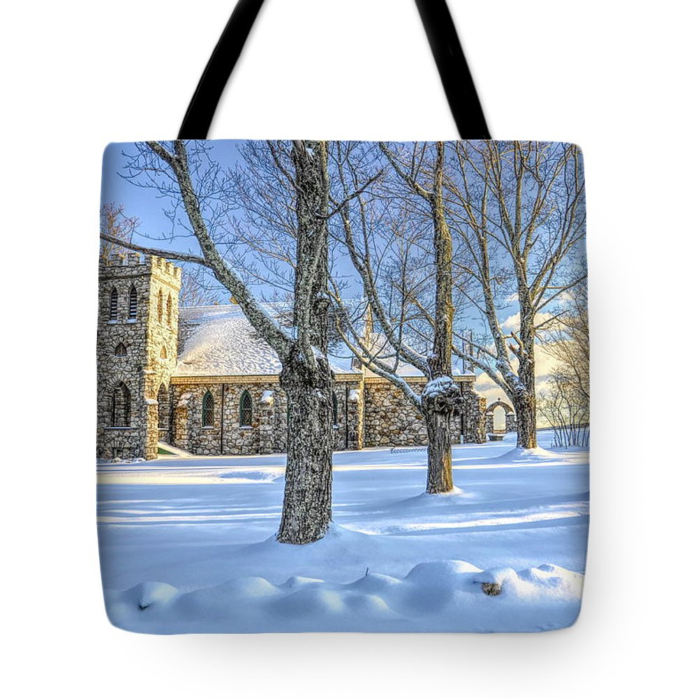 #hdr Tote Bag featuring the photograph Stone Church At Cragsmoor by Cornelia DeDona