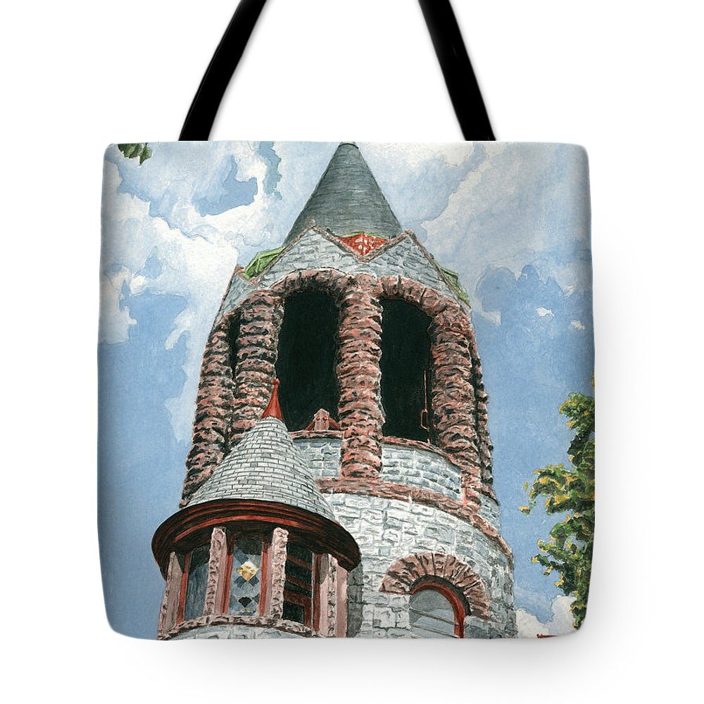 Church Tote Bag featuring the painting Stone Church Bell Tower by Dominic White