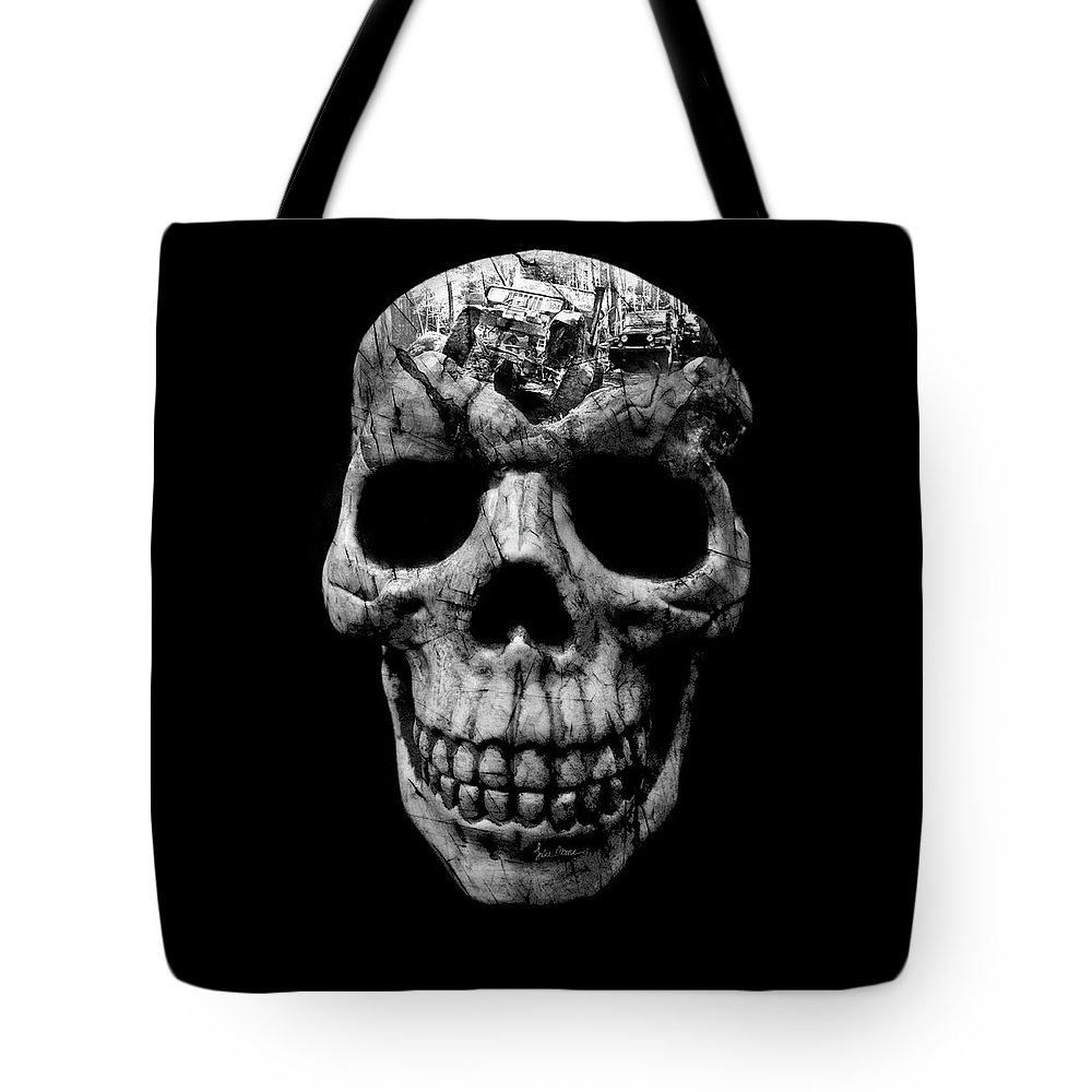 Jeep Tote Bag featuring the photograph Stone Cold Jeeper Skull No. 1 by Luke Moore