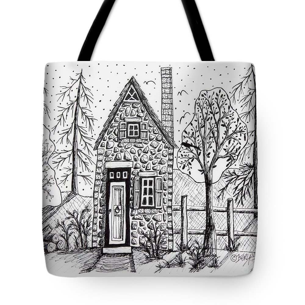 Pen And Ink Tote Bag featuring the drawing Stone Cottage by Karla Gerard