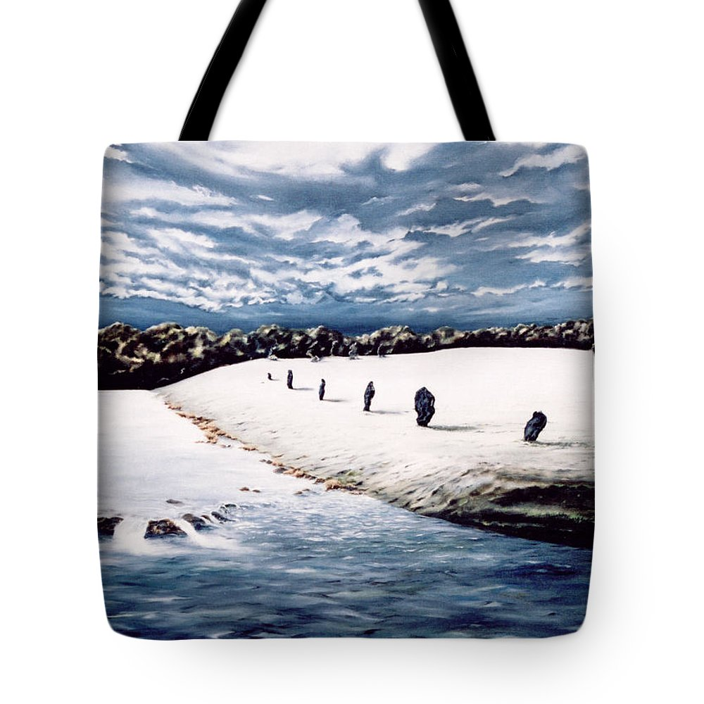 Stoneage Tote Bag featuring the painting Stone Delusion by Mark Cawood