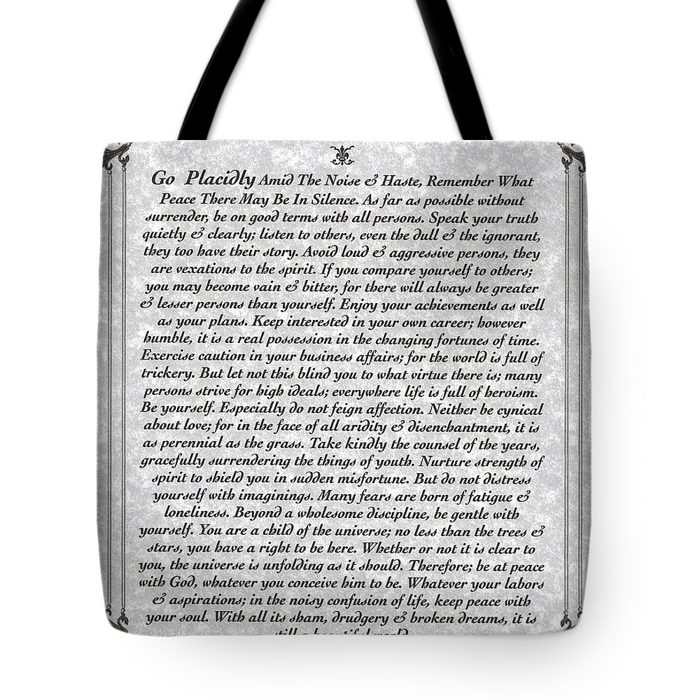 Desiderata Tote Bag featuring the mixed media Stone Fancy Desiderata Poem by Desiderata Gallery