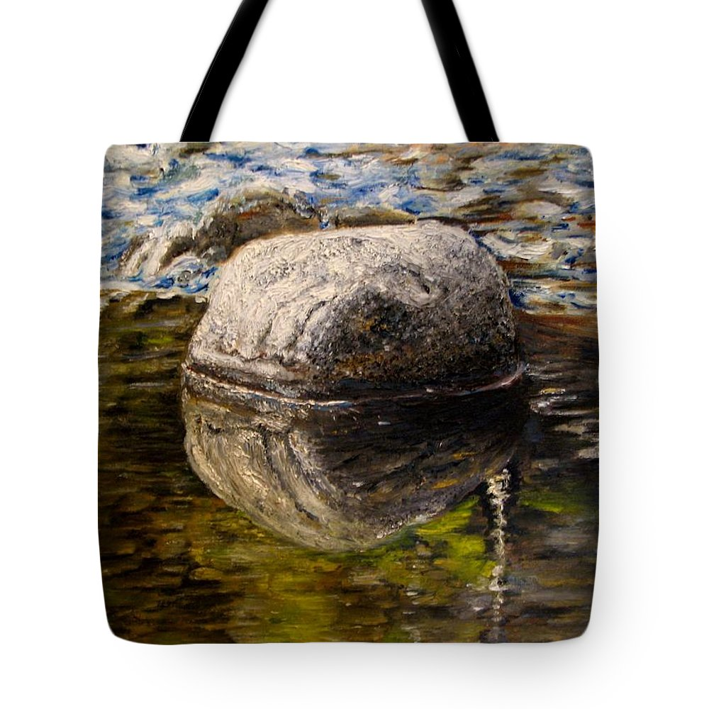 Landscape Tote Bag featuring the painting Stone Landscape Original Oil Painting by Natalja Picugina