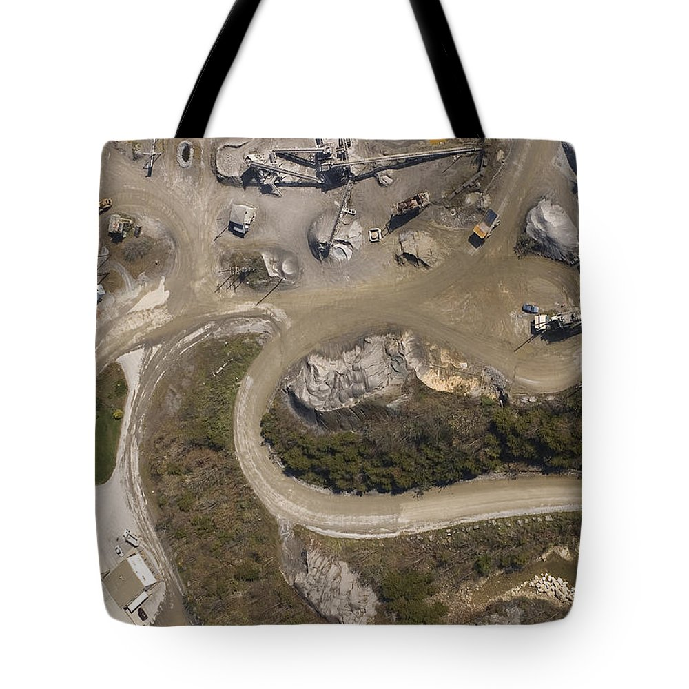 Stone Tote Bag featuring the photograph Stone Quarry Aerial by Robert Ponzoni
