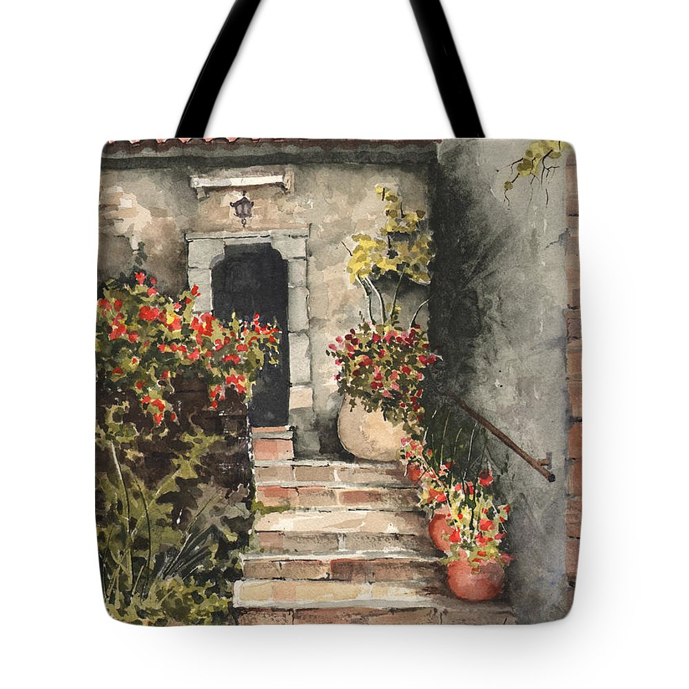 Steps Tote Bag featuring the painting Stone Steps by Sam Sidders