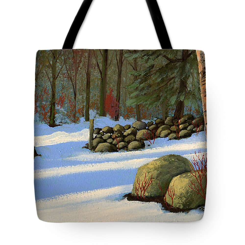 Landscape Tote Bag featuring the painting Stone Wall Gateway by Frank Wilson
