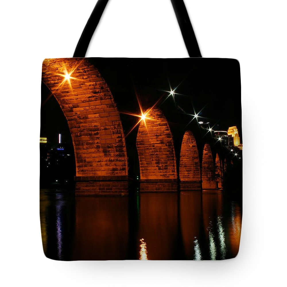 Bridges Tote Bag featuring the photograph Stonearch Bridge - Minneapolis by Angie Schutt